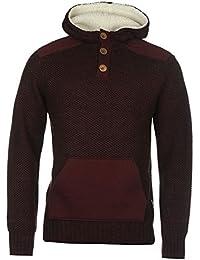 Lee Cooper canguro Knit – Sudadera con capucha para hombre rojo borgoña con capucha sudadera jersey, granate