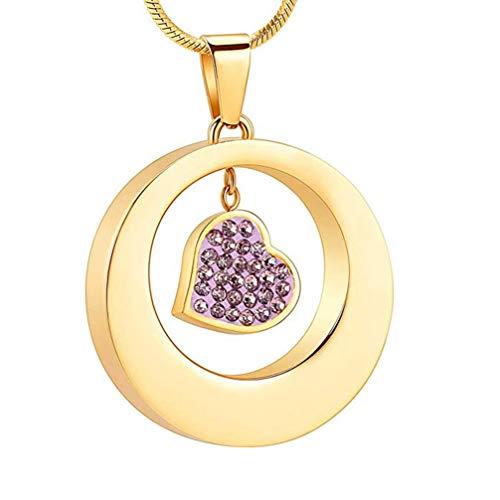 WANZIJING Edelstahl Halskette Urne, Herz mit Diamanten Feuerbestattung Asche Anhänger Andenken Halsketten Schmuck mit Fill Kit,Gold (öffnen Diamanten Herz-halskette Sie Mit)