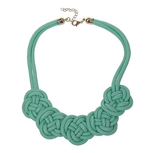 SODIAL(R) Verde collare luminoso al neon Knot Tessuto Collana