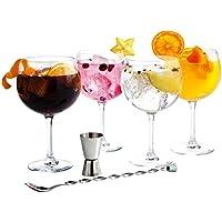 Luminarc Fiesta Combinados - Set de 6 piezas (incluye 4 copas, cuchara y medidor)