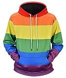 Ocean Plus Hommes Sweat à Capuche Décontracté Imprimé Animal Streetwear Chemise Casual Homme Pull à Capuche (3XL (Poitrine: 127CM), Arc en Ciel)