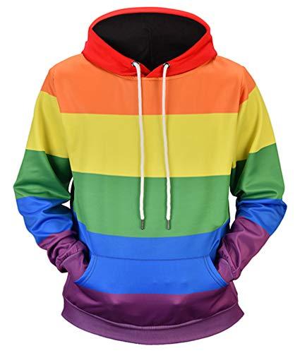 Ocean Plus Hombre Casual Sudaderas con Capucha Impresión Realista Galaxia Sudadera Streetwear Camisa Pullover (M (Pecho: 111CM), Arco Iris)