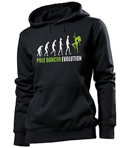 DISCO - PARTY - POLE DANCER EVOLUTION Damen Kapuzenpullover S-XL - Deluxe Noir / Vert