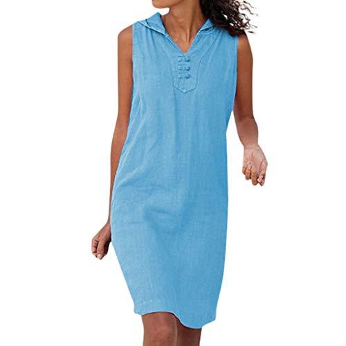 CANDLLY Kleider Damen, Beiläufig Ärmellos Strandkleid Einfarbig V-Ausschnitt mit Kapuze Kleids Festliche Strand Sommer Knielanges ()