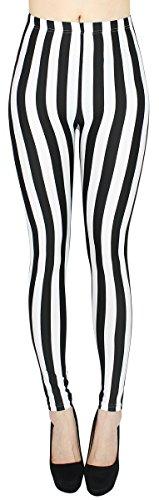Weiße Streifen Leggings (High Waist Damen Leggings Schwarz Weiß gestreift Streifen Hose Damen Röhren Skinny - One Size - JL058)