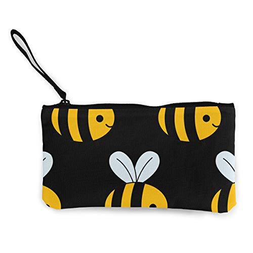Animierte Biene schwarz Brieftaschen für Frauen Kartenhalter Reißverschluss Geldbörse Telefon Kupplung Brieftasche Armband mit Handschlaufe