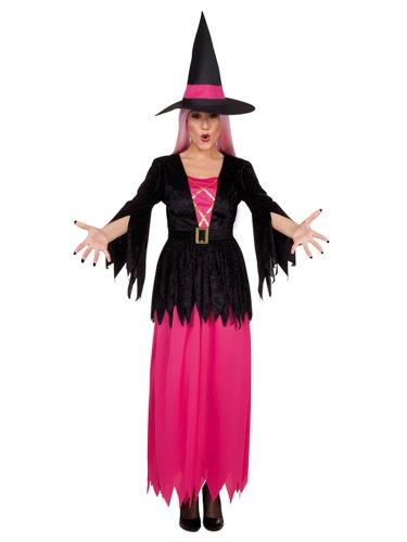 Schwarz-rosa Halloween Hexen-Kostüm für Damen - (Rosa Und Schwarze Hexe Kostüm)