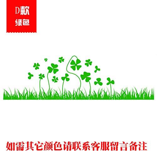 Zaun Blume Glas Tür Aufkleber Wohnzimmer Dekoriert Kick-line-fenster Dekorative Wandaufkleber 56x18CM D grün - D 18 Grün