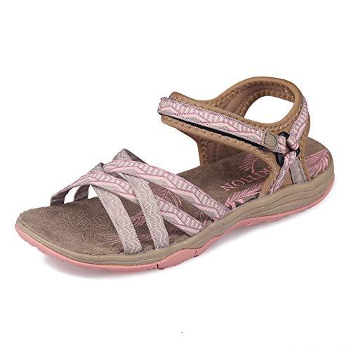 GRITION Frauen Wandern Sandalen, Damen Outdoor Sport Wasser Schuhe Sommer Flach Cross-Tied Beach Sandalen Open Toe Verstellbare Klettverschluss Walking Schuhe Schwarz (EU 40, Beige/Pink)