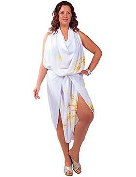 61486514aac7 1 World Sarongs Donna Pareo Copricostume Taglie Forti Senza Frange Asiatico  Floreale Bianco