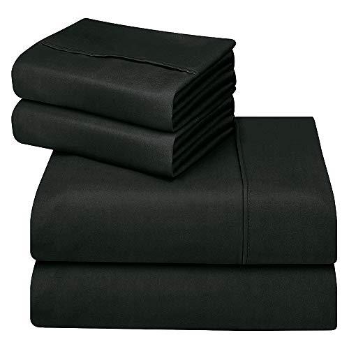 Oakome Parure de Lit 4 Pièces Drap Housse-Draps Plat-2 Taies d'oreiller 100% Polyester Kit de Literie Hypoallergéniqu