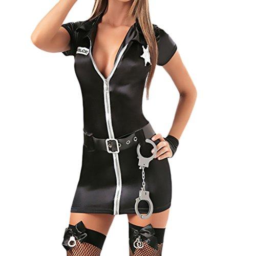 Battercake Damen Unterwäsche Fasching Halloween Kostüm Cosplay Polizistin Uniform Weibliche Polizei Casual Frauen Kleidung Versuchung Dessous Kleid (Color : Schwarz, Size : One Size) (Top 2019 Halloween-kostüme Für Erwachsene)