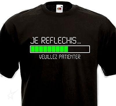 T-shirt Je réfléchis... Veuillez patienter - Humour Geek Informatique Chargement Loading