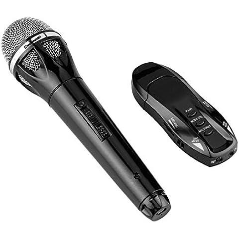Excelvan K18 - Profesional Micrófono Dinámico Bluetooth Inalámbrica (con Cable de Audio, Ligero, Carga por USB, para Bar, KTV, Karaoke, DJ, Reuniones,