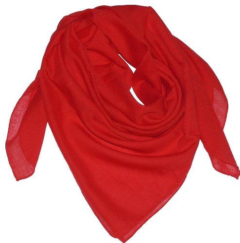 Harrys-Collection Damen Herren Baumwolltuch in vielen Farben 100 x 100 cm, Farben:rot, Größen:Einheitsgröße -