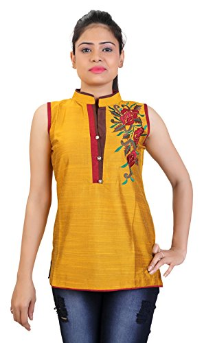 Carrel Cotton Silk Fabric Women Short Kurti(AGSPL-3257-JTY-KT-07-YELLOW-XL)