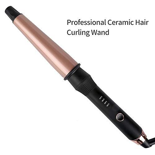 Tourmaline Céramique Waver Curling Wand 1-1.5 pouces Cheveux Rouleau Chauffé/Tong Curler Avec des gants isolés/affichage LED/mise hors tension automatique -Rose Gold (Double tension)