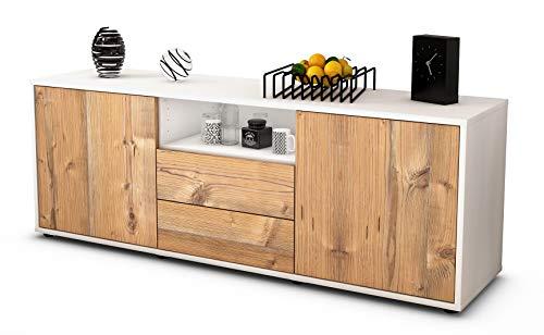 Stil.Zeit Möbel TV Schrank Lowboard Ameriga, Korpus in Weiss matt/Front im Holz Design Pinie (135x49x35cm), mit Push to Open Technik und hochwertigen Leichtlaufschienen, Made in Germany