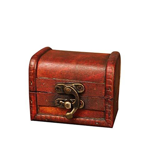Organizzatori di Economia Domestica,TwoCC Portagioie Vintage in Legno Scatola Fatta a Mano T Ni Serratura in Metallo per Riporre I Gioielli con Perle