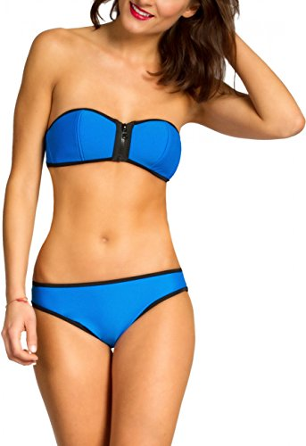CASPAR BIK002 Damen Bandeau Bikini Set Blau