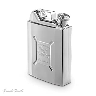 Final Touch Gas Can Drinking Hip Flask with Screw Down Cap - Holds 265ml - Stainless Steel FTA1829