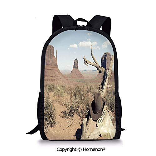 """Tan Light Blue,Design Girls School Backpack Back to School(17.3"""") Cowboy Hat on Dried Tree Branch and Wanted Sign Desert Monument Alley in USA"""
