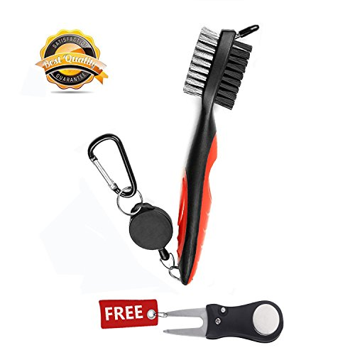 BUTYPAL Golf Club Cleaning Kit - Dual Sided Nylon and Wire Golf Club Cleaner with Divot Repairer , Multi Tool Golf Accessories as Groove Sharpener, Ball Cleaners, Golf Cleaning Kit for Women and Men