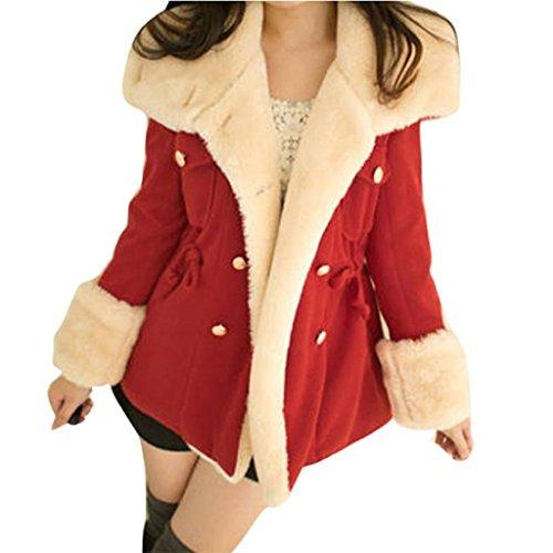 Kanpola Jacke Damen Elegant Winter mit Fell Fashion Warm Double Breasted Wolle Blend Damen Mantel (M, Rot) (Jeans Breasted Double)