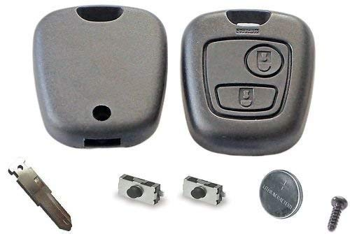 PEUGEOT DIY Kit de réparation - remplacement 2 boutons télécommandé clés voitures boîte avec lame , Batterie et micro-interrupteurs pour 106 206 306 406 107 207 307 407 clé FOBS - Noir