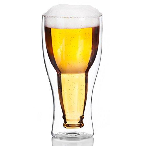 Dimono Doppelwandiges Bierglas Inside Out Umgestülpte Bierflasche im Glas