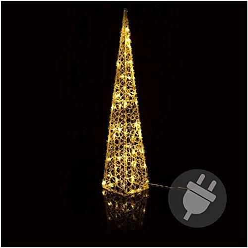 Preisvergleich Produktbild Pyramide 90 cm hoch Weihnachtsbeleuchtung Warmweiss LED für Aussen