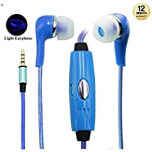 Supreno™ Visible EL Flowing Light Earphone LED Flashing Light In-Ear Earbuds With Microphone For IPhone Samsung HTC LG Mobile Phones
