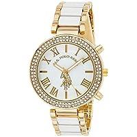 الولايات المتحدة الأمريكية بولو اسن ساعة يد USC40065 للنساء، كوارتز، شاشة عرض انالوج وسوار ستانلس ستيل