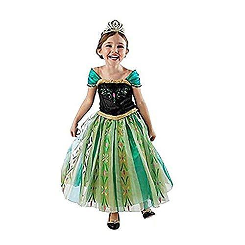 Hukangyu1231 Schneeflocke Party Kleid Anna Prinzessin Kleid Gefrorenes Kostüm für 3-7 Mädchen Damen Halloween Kostüm (Größe : L(120-130cm))