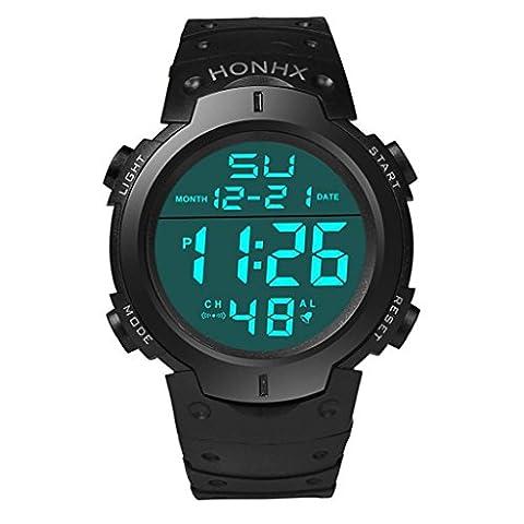 Vovotrade Mode Imperméable Homme Garçon LED Chronomètre Numérique Date Bracelet en Caoutchouc Montre Sport