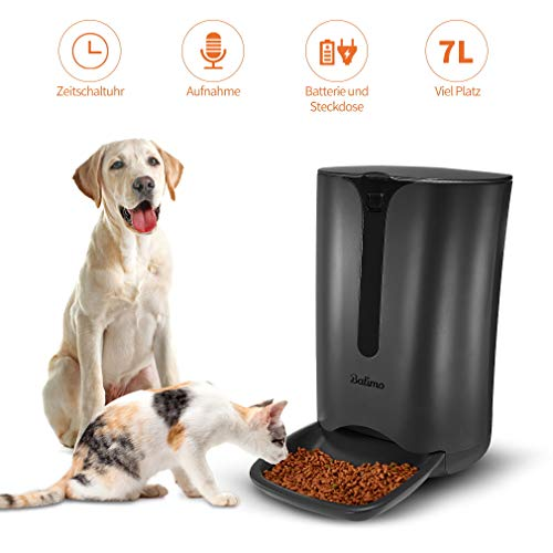 Balimo Smart Futterautomat für Katze und Hund, Automatischer Futterspender mit Timer für bis zu 4 Mahlzeiten pro Tag, Verteilungsalarm, Portionssteuerung, Ton-Aufnahmefunktion, 7L, Schwarz