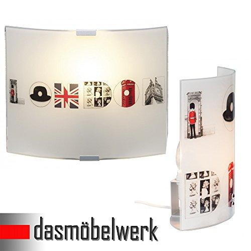dasmöbelwerk Brillant Tischleuchte Lampe Stehlampe Wandlampe Wandleuchte Retro England LONDON Nachtlicht Deko Schreibtisch Kinderzimmer Kinderleuchte (Wandleuchte)