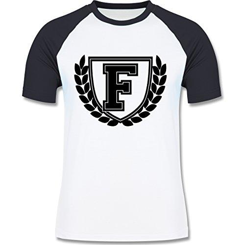 Anfangsbuchstaben - F Collegestyle - zweifarbiges Baseballshirt für Männer Weiß/Navy Blau