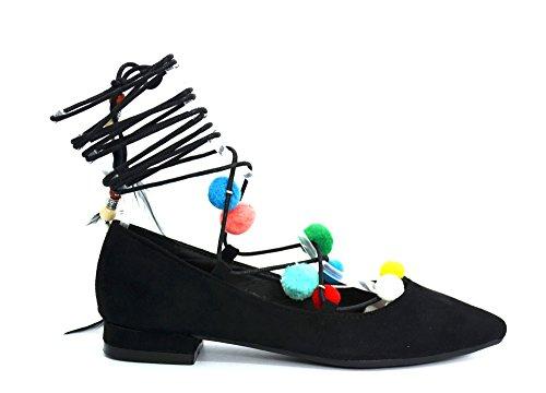 SHF46 * Ballerines Effet Daim Uni avec Bout Pointu, Petit Talon et Lacet Cordon à Nouer Cheville avec Pompons Multicolore et Plumes - Mode Femme (Noir) Noir