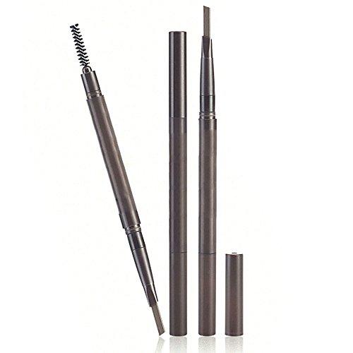 Vococal® 3 Couleurs Auto Rotatif Pen de Cosmétique Crayon à Sourcils avec Brosse (Foncé Brun + Clair Brun + Noir)