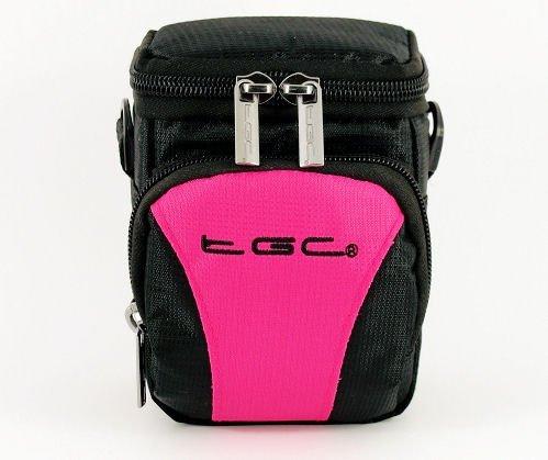 Der TGC Hot Pink & Schwarz Deluxe Compact Schulter Tragetasche für die Sanyo CG10Camcorder Cg10 Camcorder