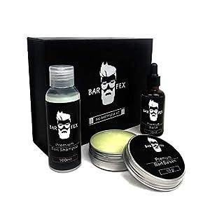 Premium Bartpflegeset für Männer von BarFex (4-Teile) | Bartöl + Bart Balsam + Bart Shampoo | Vanille oder Neutral | Das Bartpflege Set mit exklusiver Geschenk Box