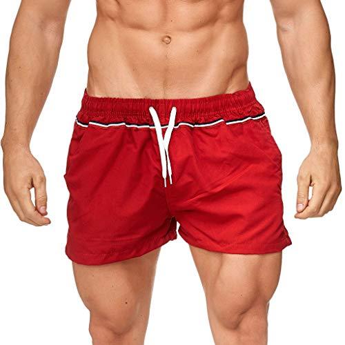 TTLOVE MäNner Casual Sport Solid Patchwork Bandage Fest Trocknende Kordel Shorts Hosen Herren Badehose Badeshorts Swim Freizeit-Shorts Jogginghose (rot,L) -