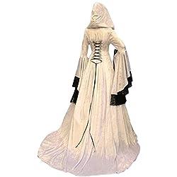 Vestido Maxi con Capucha Medieval de La Vendimia de Las Mujeres de Halloween Disfraz de Encaje Victoriano con Manga Abocinada, M