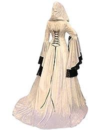 lancoszp Vestido Maxi con Capucha Medieval de La Vendimia de Las Mujeres de Halloween Disfraz de Encaje Victoriano con Manga…