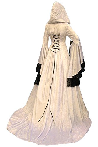 lancoszp Vestido Maxi con Capucha Medieval de La Vendimia de Las Mujeres de Halloween Disfraz de Encaje Victoriano con Manga Abocinada, XL