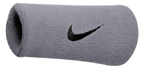 Nike Swoosh Doublewide Wristbands matte silver/black