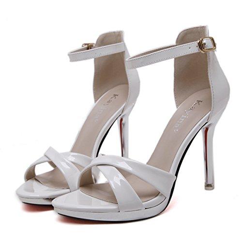 GS~LY Regali Estate sandali ammenda femmina con open-toed fibbia tacco alto sandali Black