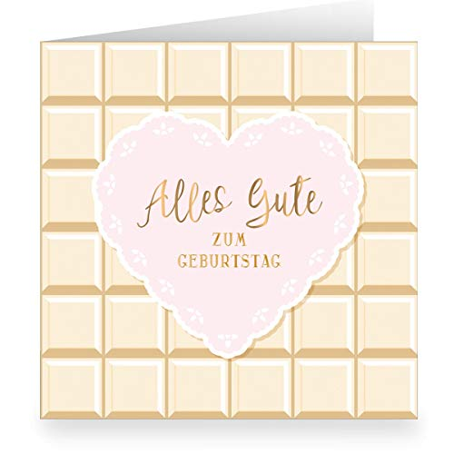 1 Zuckersüße Geburtstagskarte im Schokoladen Look mit Herz innen weiß (quadratisch, 15,5x15,5cm inkl Umschlag): Alles Gute zum Geburtstag - Glückwunsch für Familie, Freunde, Mitarbeiter