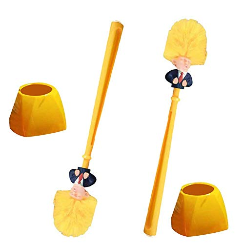 Funny Trump WC-Bürstengarnitur 2 mit Halter Donald Trump WC-Bürste Gag, dichte Borsten für Badaufbewahrungsbürste für Toilettenreinigungs-Kommandant in Mist,A